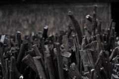 Natural wood charcoal, traditional charcoal or hard wood charcoa Royalty Free Stock Photography