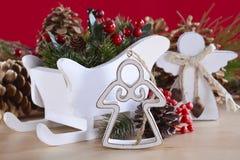 Natural wood Christmas ornaments. Stock Photos