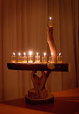 Natural wood menorah Royalty Free Stock Images