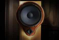 Natural wood sound system - oak tree body and yew tree front Royalty Free Stock Photos