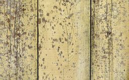 Natural wood texture with yellow flaked paint. Natural wood texture with flaked paint for background Stock Photo