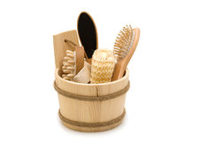 Natural wood toiletry accessories. In a wooden bucket Stock Photos