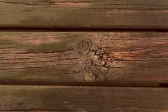 Natural wooden background with cracks. Horizontal board. stock image