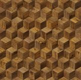 Natural wooden background cube 3d. Grunge parquet flooring design seamless texture Royalty Free Stock Photography