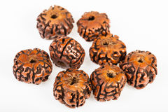 Natural wooden beads from Rudraksha tree seeds Stock Images