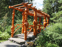 Natural Wooden Bridge in the Cascade Park in Banff, Canada Royalty Free Stock Photography