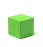 Natural wooden green cube. Closeup isolated on white Royalty Free Stock Image