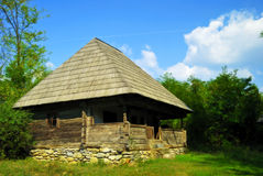 Natural wooden house from Romaniamuseum. Beautiful nature spot with traditional old wooden house Royalty Free Stock Photography
