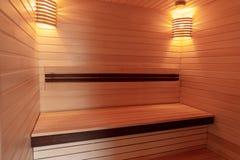 Natural wooden Japanese sauna. Sauna trimmed beautiful wood. close-up royalty free stock photo