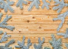 Natural wooden New Year Christmas holiday winter festive background with snowy spruce conifer twigs as blank frame or card for wri. Natural veined wood of larch royalty free stock photos