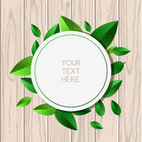 Natural wooden texture background and round green leaf frame wit. H place for text. Vector spring and summer illustration Royalty Free Stock Images