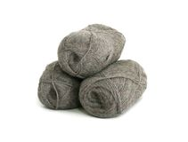 Natural wool  on white Royalty Free Stock Image