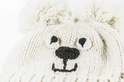 Natural woolen warm baby hat for winter. Funny and beautiful Stock Images