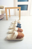 Natural woollen slippers Royalty Free Stock Images