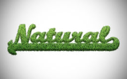 Natural word. Written with green grass Stock Photo