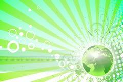 Natural worl. Green world lines, circles with natural elements Stock Photos