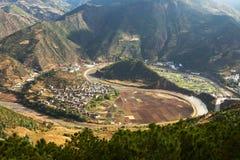 Natural Yin Yang River Bend. The natural Ying Yang river bend in the Nujiang Valley in Yunnan Province, southern China Royalty Free Stock Photos