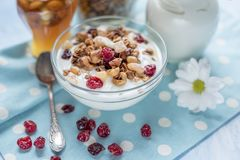 Natural yoghurt with granola nuts and dried fruits. Natural healthy food royalty free stock image