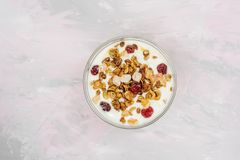 Natural yoghurt with granola nuts and dried fruits. Natural healthy food royalty free stock photo