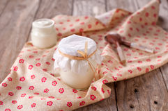 Natural yoghurt. On the wooden table, selective focus Stock Images