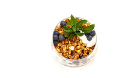 Natural yogurt with berries and muesli Stock Photos