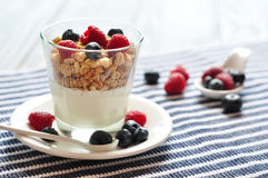 Natural yogurt with berries Stock Photo