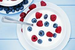 Natural yogurt with blueberries and raspberries Stock Image