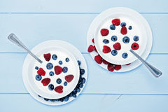 Natural yogurt with blueberries and raspberries Royalty Free Stock Image