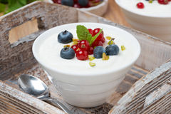 Natural yogurt with fresh berries in a bowl on wooden tray Stock Images