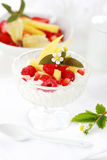 Natural yogurt with fresh fruits Royalty Free Stock Photography
