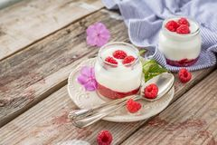 Natural yogurt with fresh raspberries and. Raspberry jam for breakfast in portion jars on a wooden background. selective Focus Royalty Free Stock Photos