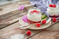 Natural yogurt with fresh raspberries and. Raspberry jam for breakfast in portion jars on a wooden background. selective Focus Royalty Free Stock Image