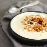 Natural yogurt with muesli in old gray bowl Royalty Free Stock Image