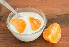 Natural yogurt with orange Stock Photo
