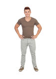 Natural young men with jeans Royalty Free Stock Photos