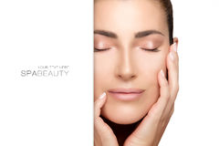 Natural young woman face. Spa Beauty Concept Royalty Free Stock Photos