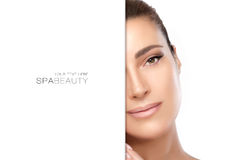 Natural young woman half face. Spa Beauty Concept Royalty Free Stock Photo