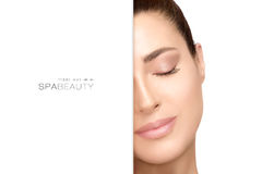 Natural young woman with serene expression. Spa Beauty Concept Royalty Free Stock Photos