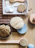 Natural, zero waste loofah, sponge and wooden brushes, above view royalty free stock photography