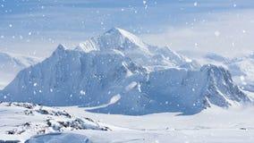 Naturaleza antártica: montañas coronadas de nieve en invierno almacen de video