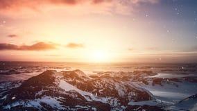 Naturaleza antártica Puesta del sol colorida hermosa almacen de video