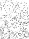 Naturaleza blanco y negro del libro de colorear de la historieta Claro en el bosque con las plantas Fotos de archivo libres de regalías