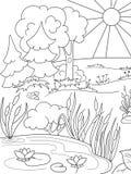 Naturaleza blanco y negro del libro de colorear de la historieta Claro en el bosque con las plantas Fotografía de archivo