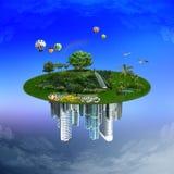 Naturaleza contra la urbanización, concepto de la protección del ambiente Imagen de archivo libre de regalías