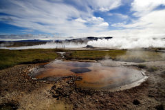 Naturaleza de Islandia y géiser de los paisajes Fotografía de archivo libre de regalías