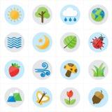 Naturaleza de los iconos y ejemplo planos del vector de los iconos del árbol Fotos de archivo libres de regalías