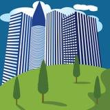 Naturaleza del fondo de los edificios de la ciudad stock de ilustración
