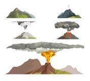 Naturaleza del magma del volcán que explota con el ejemplo del vector de la montaña de la lava de la erupción volcánica del humo stock de ilustración