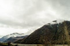 Naturaleza del paisaje de la nieve de la montaña con los árboles y niebla en Ilisu, Gakh Azerbaijan, el Cáucaso grande Imagen de archivo libre de regalías