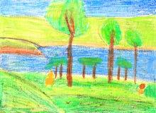 Naturaleza del verano de la pintura de los niños Fotos de archivo libres de regalías